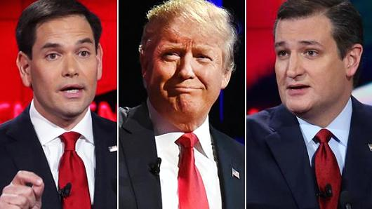 Marco Rubio, Donald Trump and Ted Cruz.