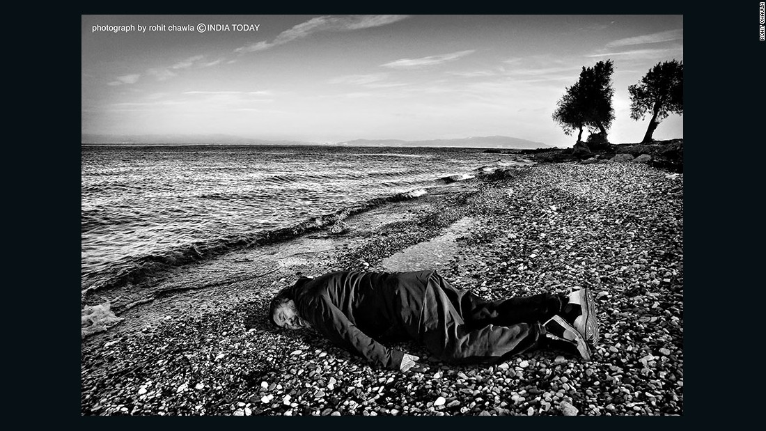 The artist Ai Weiwei. He is paying homage to the child who drowned while seeking refuge.