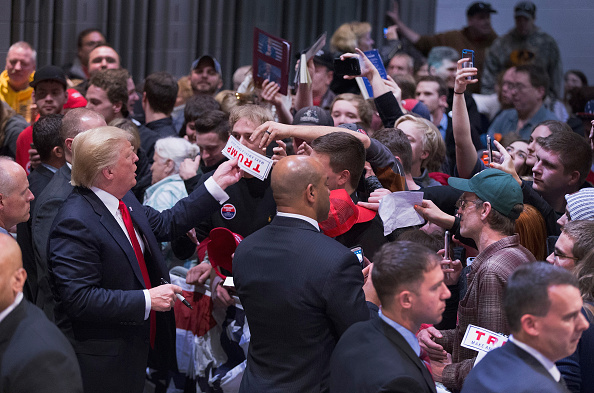 EAU CLAIRE, WISCONSIN - APRIL 02: Republican presidential candidate Donald Trump greets guests during a campaign stop. Photo by Scott Olson/Getty Images