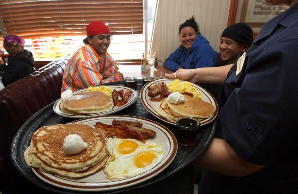 Free breakfasts as part of a promotion by Denny's. Photo by Justin Sullivan/Getty Images