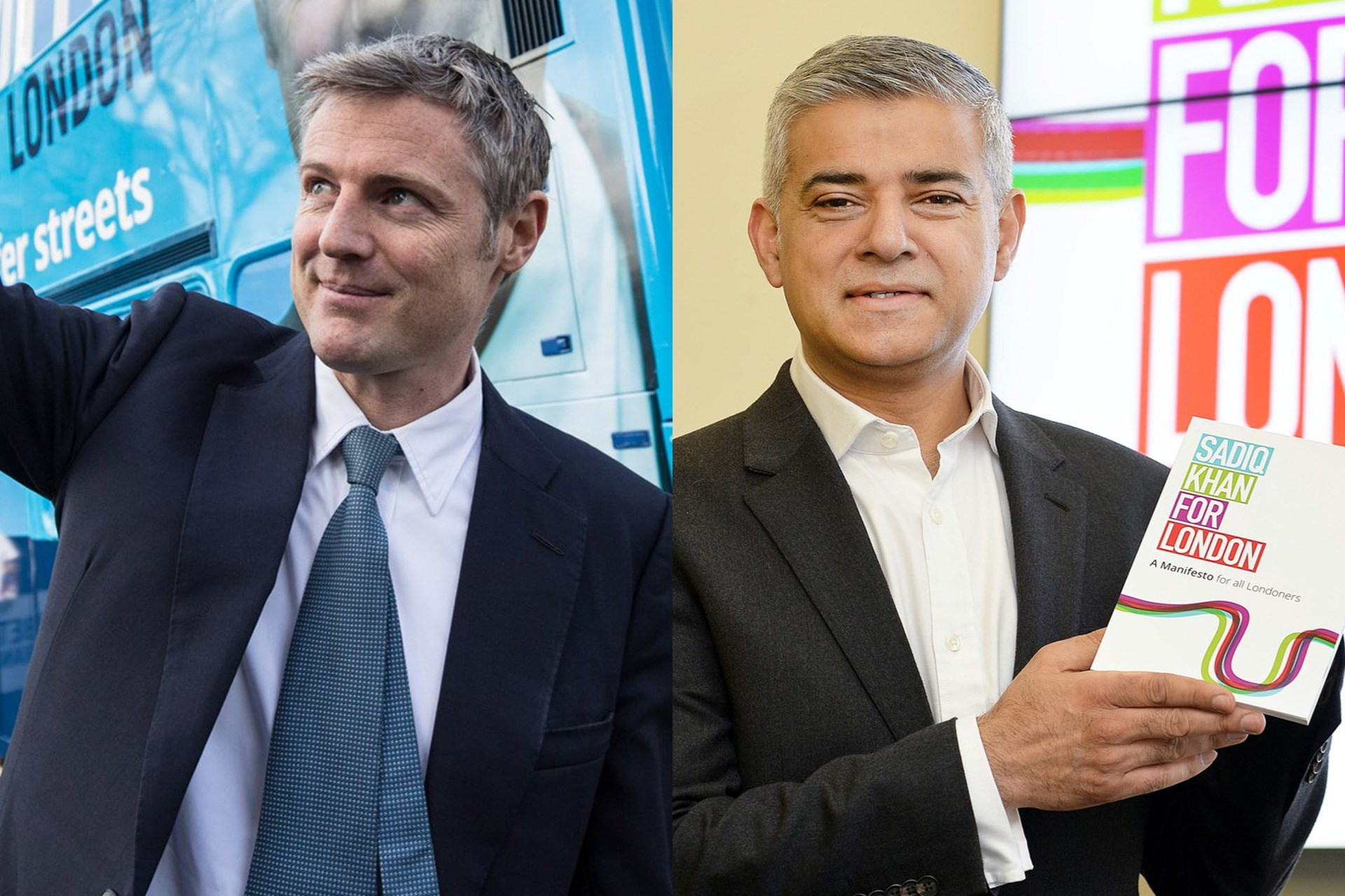 Zac Goldsmith and Sadiq Khan, candidates for Mayor of London