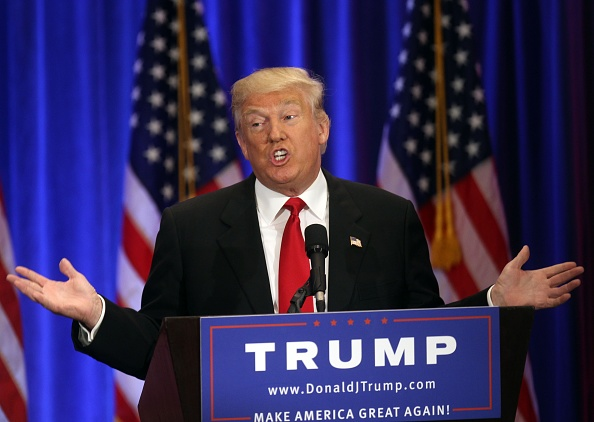 Donald J Trump gives campaign speech on June 22, 2016 in New York City. Photo by Steve Sands/FilmMagic