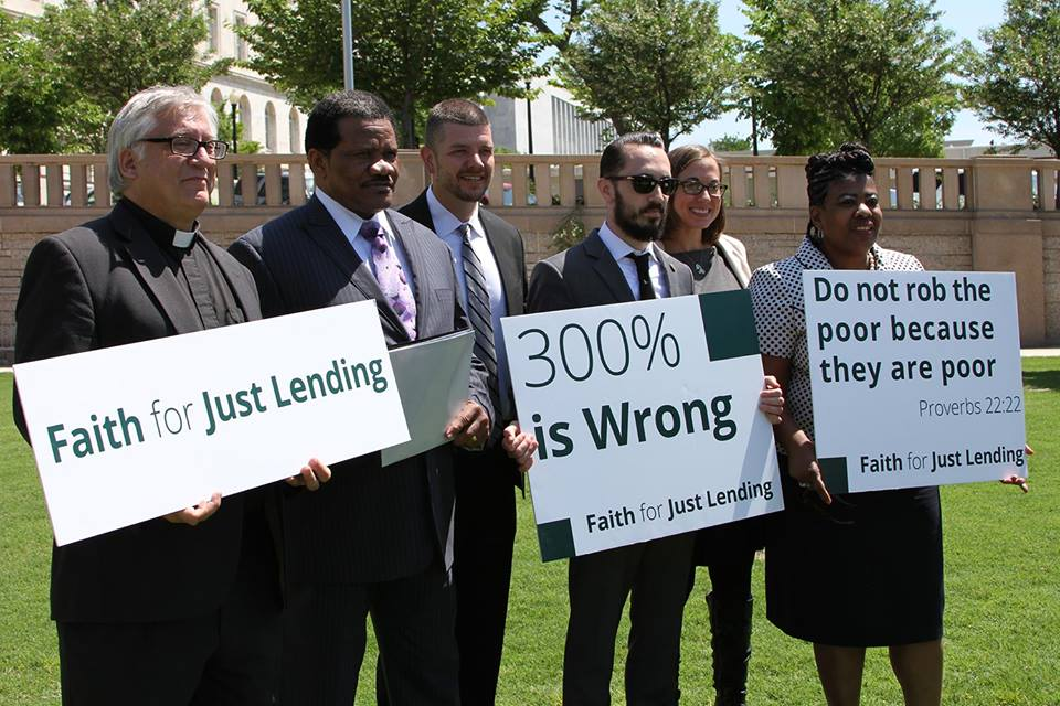 Leaders of Faith for Just Lending demonstrate their concerns.