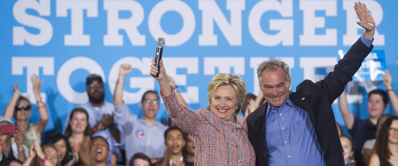 Hillary Clinton introducing Tim Kaine as her running mate. Saul Loeb/AFP/Getty Images