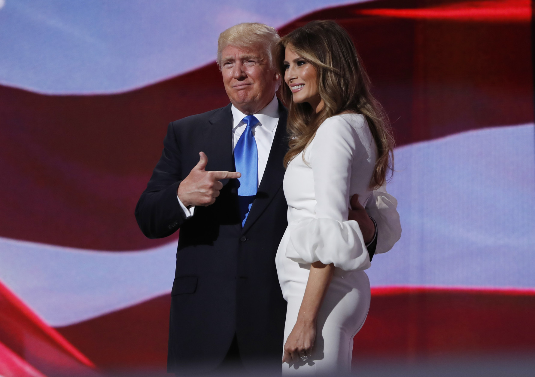 Donald and Melania Trump at her speech to the Republican Convention. She was accussed of using lines from Michelle Obama's speech to the Democratic Convention in 2008. Photo credit AP Photo/Carolyn Kaster