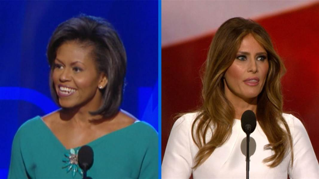 Michelle Obama and Melania Trump as they made speeches to their conventions.
