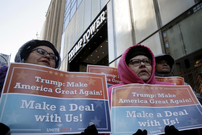 Workers picketing at Trump Hotel in Las Vegas.
