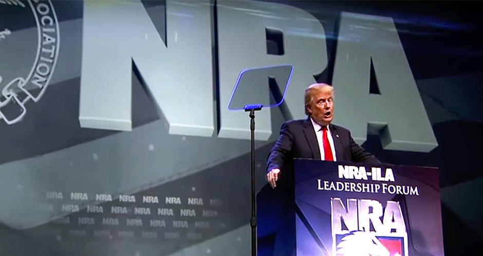 Donald Trump speaking at a recent gathering of he National Rifle Association.