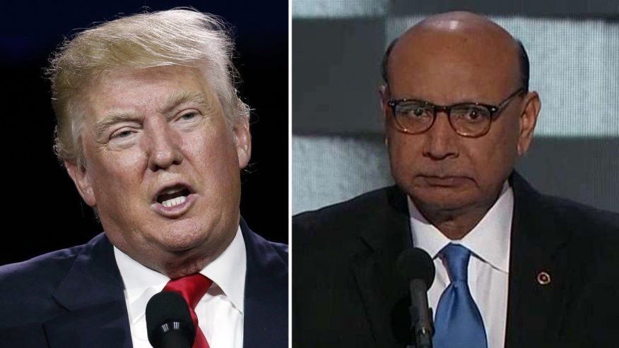 Donald Trump, left and Khizr Khan.