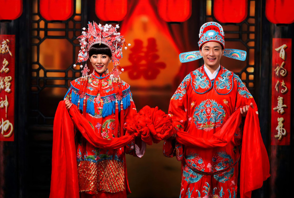 Traditional formal Chinese wedding clothes.