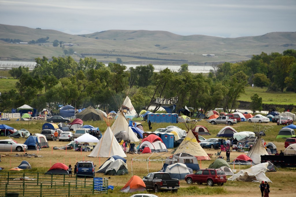 Indian gathering place for the pipeline protest. Robin Beck AFP Getty images