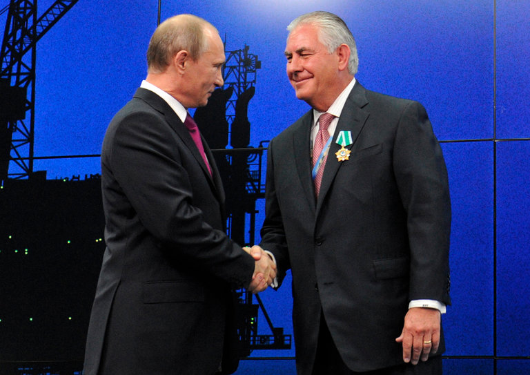 President Vladimir V. Putin of Russia presented Rex W. Tillerson, with a medal in 2012 in St. Petersburg. Credit Pool photo by Mikhail Klimentyev.