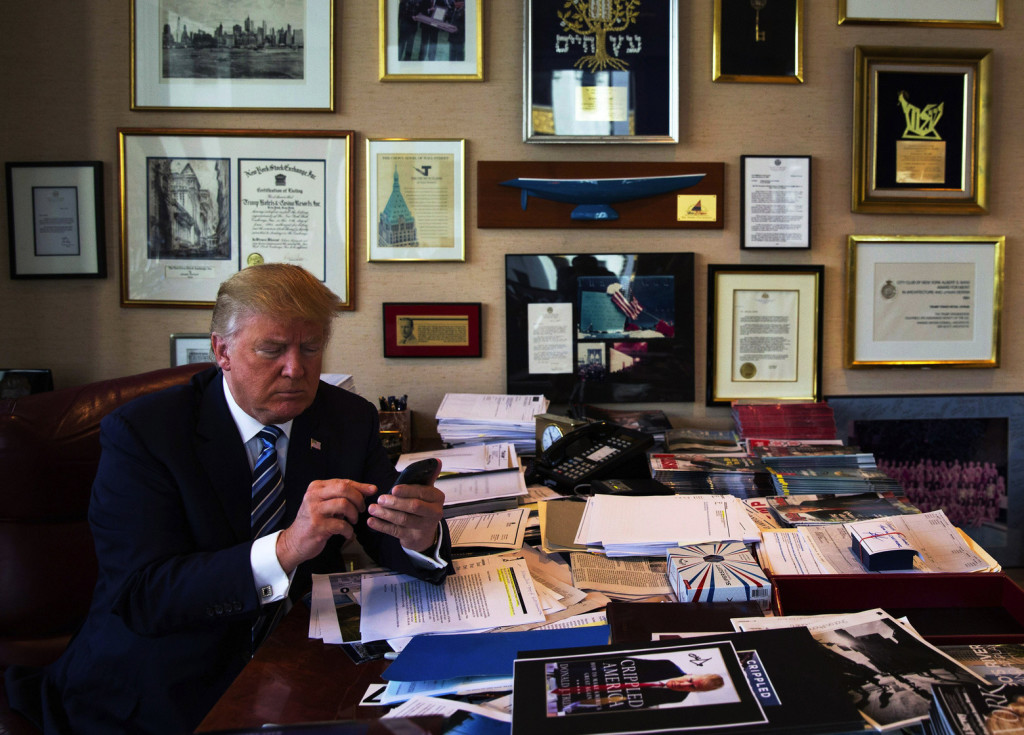 Donald Duck demonstrates his tweeting skills in his office at Duck Tower. Photo credit: Josh Haner/The New York Times.