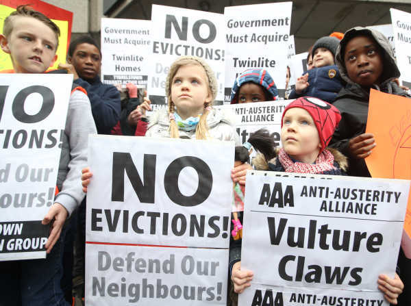Residents protesting evictions of a development owned by Goldman Sachs. Photo credit: RollingNews.ie