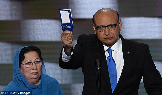 Khizr and Ghazala Khan, parents of Captain Humayun Khan, who died defending his troops. They are speaking at the Democratic Convention.