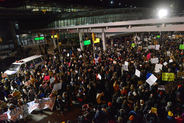 Demonstration at JFK Airport, New York City. Photo credit: Getty Images