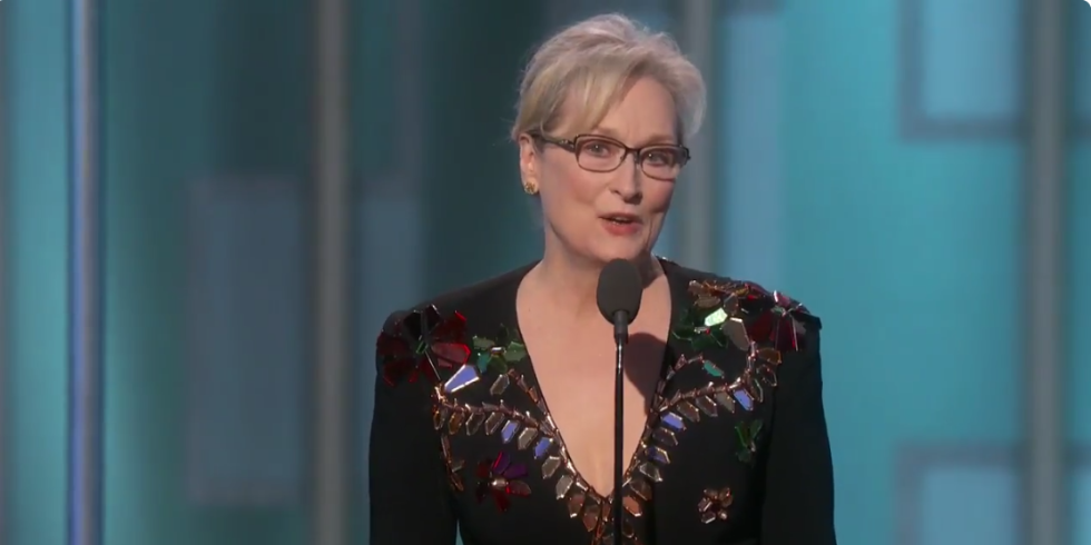 Meryl Streep speaking at the Golden Globes Awards