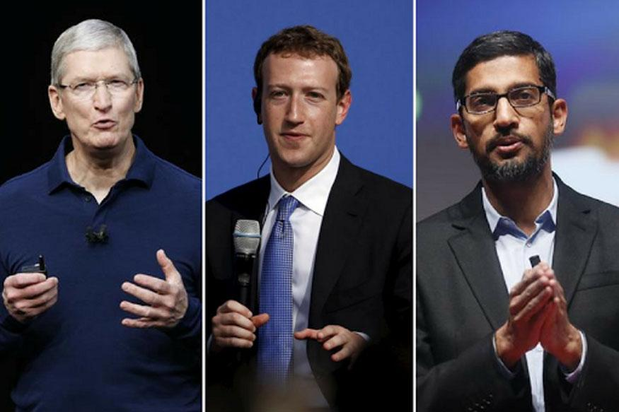 Apple CEO Tim Cook Facebook CEO Mark Zuckerberg and Google CEO Sundar Pichai.