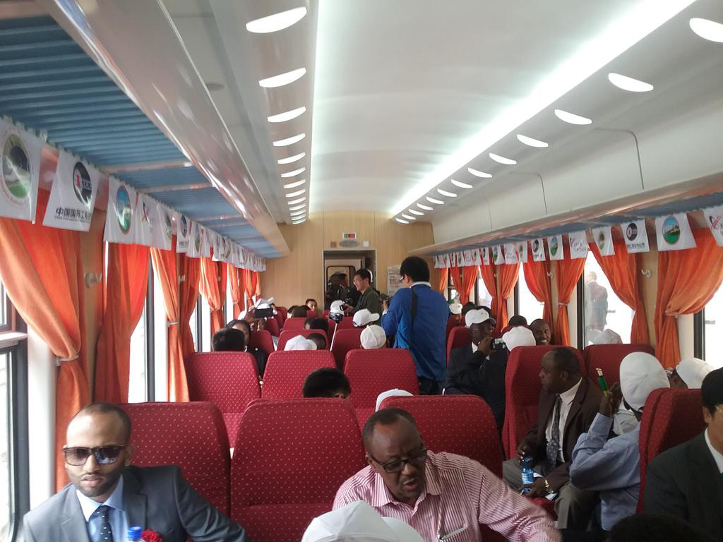 Passengers on the new Djibouti -- Ethiopia Railroad.